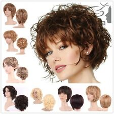 Curly Wave Straight Short Brown Wigs Ombre Two Tone Synthetic Hair Full Head Wig