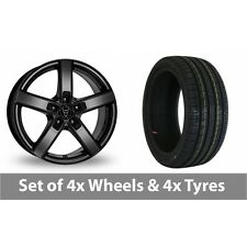"""4 x 16"""" Wolfrace Emotion Black Alloy Wheel Rims and Tyres -  195/45/16"""