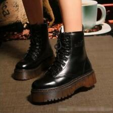 Retro Womens Creeper Platform Shoes Lace Up Ankle Boots Combat Riding Boots WW