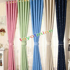 Colorful Star Textured Blockout Eyelet Blackout Kid Room Darkening Curtains