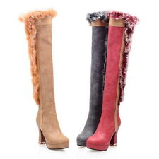 Ladies' Faux Suede Furs Shoes Platform High Heels Zip Up Knee Boots AU Size b153