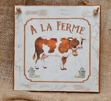 Wall Plaque, vintage/retro Farm Dairy Milk, cow, hen,rooster, French