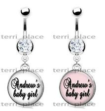 "Custom Name Baby Girl Glass Top Belly Ring Navel Piercings CZ Gem 14ga 3/8"" Love"