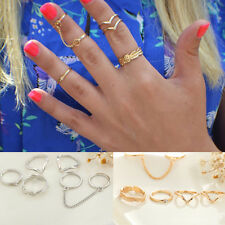 Hot Sale 6pcs Set Gold Silver Rings Crystal Above Knuckle Stacking Band Mid Ring