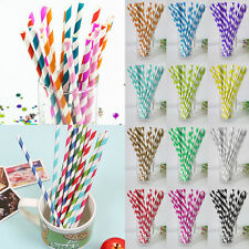25x Disposable Paper Straws Striped Drinking Straw Retro Party Wedding Tableware