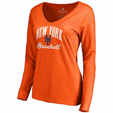 New York Mets Women's Victory Script Slim Fit Long Sleeve T-Shirt - Orange - MLB