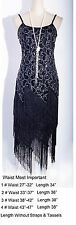 Gatsby 1920's Flapper Clubwear Sequin&Tassel Black Dress Size S-6X WC DRESS_4036