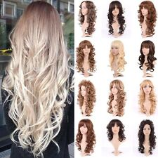 Curly Straight Wave Full Wigs Natural Look Brown Blonde Ombre Two Tone Wig Long