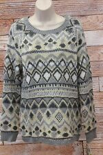 Charter Club Tunic Sweater Patterned Gray Metallic Gold Medium Large NWT W3