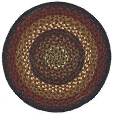"""Folk Art Braided Placemat by Park Designs, 15"""" Round, Red, Black, Tan and Cream"""