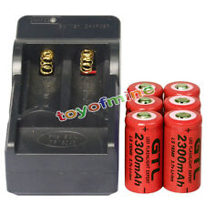 6 CR123A 3.7V 2300mAh 16340 123A Rechargeable Battery Cell Red + Smart Charger