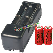 2pcs 16340 CR123A 2300mAH Li-ion Rechargeable Battery Red Cell + 14500 Charger