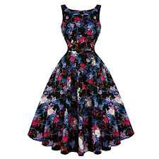 Hearts & Roses London Black Dahlia Floral Vintage Retro 1950s Flared Tea Dress