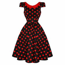 Hearts & Roses London Black Red Polka Dot Vintage 1950s Party Prom Jive Dress UK