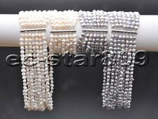 D0286 SET 7Row 8mm White Baroque FW Pearl Necklace & Bracelet Magnetic