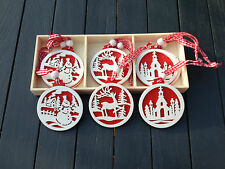 Gisela Graham Wooden Round Red & White Hanging Christmas Tree Decorations