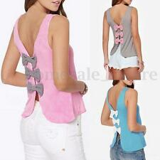 Zanzea Womens Vest Top Sleeveless Blouse Casual Backless Tank Tops T-Shirt Bow
