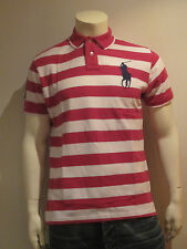 POLO RALPH LAUREN MEN POLO SHIRT [SIZE M L XL XXL] BIG PONY STRIPES PURPLE NIP