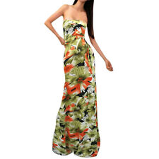 Women Floral Printed Open Back Strapless Maxi Dress