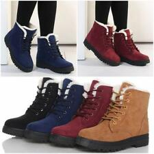 Womens Winter Snow Fur Lined Lace Up Flat High Ankle Boots Round Toe Shoes - CB
