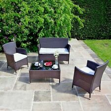 RATTAN WICKER GARDEN FURNITURE 4 SEAT LOUNGE SOFA SET OUTDOOR CONSERVATORY