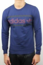Adidas Originals Mens Logo Crew Dark Indigo Light Maroon Sweater G76297 NWT