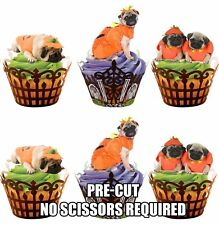 PRE-CUT Halloween Pumpkin Pugs  - Edible Cupcake Toppers Cake Decorations