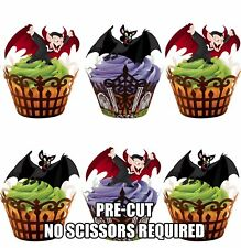 PRE-CUT Halloween Vampire Bats  - Edible Cupcake Toppers Party Cake Decorations