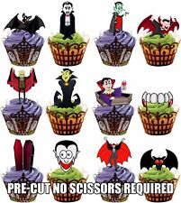 Cartoon Vampire Mix Fully Edible Cup Cake Toppers Halloween Party Decorations