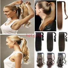 mega long Clip In Hair Extension wrap around clip on ponytail hair real natural