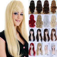 Ladies Wig Long Hair Fall Full Wig Curly Wavy Straight Ombre Synthetic Wigs US