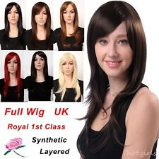 "Best Daily Full Wig Ladies Long Layer Wavy Wigs Cosplay Black Brown Red 23"" UK h"
