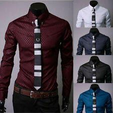 Fashion Men's Luxury Casual Shirts Slim Fitted Dress Shirts Long Sleeve Button