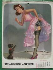 March 1960 Pinup Girl Harry Ekman Rare Calendar Art Poodle Dog Trouble Leg Show