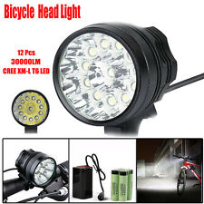 30000LM 12x CREE XM-L T6 LED 6x 18650 Bicycle Cycling Light Waterproof Head Lamp
