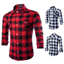 Mens Long Sleeve Casual Check Print Smart Cotton Work Flannel Plaid Shirt Tops
