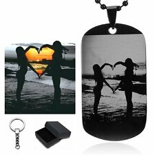 Free Custom Engraving- Personalized Photo Letter Name Dog Tag Necklace Keychain
