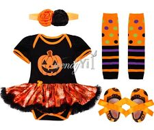 Baby Girl Halloween Romper Dress Outfit Pumpkin 4pcs Set Costume Dress Age 0-12M