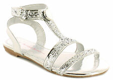 New Girls Silver Fashion Party Sandals Touch Fastening Party Shoes UK SIZES