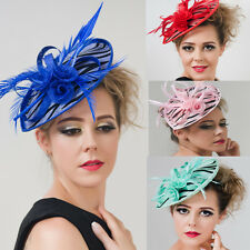 Women's Large Feather Fascinator Clip Hat Headband Party Kentucky Derby