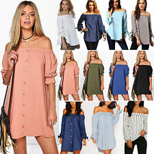 SEXY WOMENS LADIES OFF THE SHOULDER BARDOT BLOUSE EVENING SHIRT DRESS CASUAL TOP