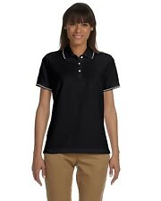 Devon & Jones-Ladies Pima pique Short-Sleeve Tipped Polo-D113W