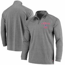 Chicago Cubs Stitches Team Logo Quarter-Zip Pullover Jacket - Charcoal - MLB