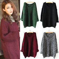 Womens Plus Size Knitted jumper Sweater Batwing Sleeve Tops Cardigan Loose Coat