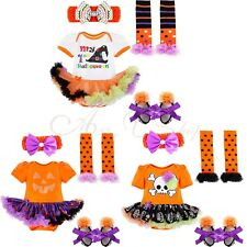 4PCS Newborn Infant Baby Girls Outfit Set Headband+ Tutu Romper+Leg Warmer+Shoes