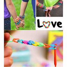 DIY 600PCS RAINBOW Rubber Loom Bands Refill Bracelet Making Toys Kids Gift Rings
