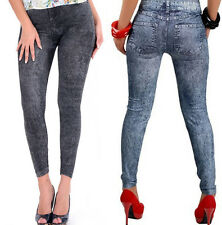 Womens Skinny Leggings Slim Faux Denim Jeans Jeggings High Stretchy Pencil Pants