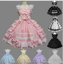 Gothic Bow Tie Lace Layer Lolita cosplay party Short Dress Luxury Candy Color Sz