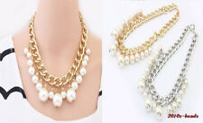 Fashion Beautiful Occident Style hyperbole tassel pearl alloy charms Necklace
