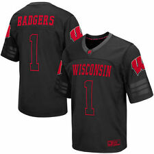 #1 Wisconsin Badgers Colosseum Blackout Football Jersey - Black - College
